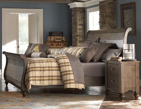 Southern Pines Sleigh Bed In Bark Finish By Liberty